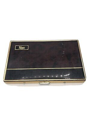VINTAGE 1970'S MORE CIGARETTE MARBLE & GOLD TONED METAL CASE