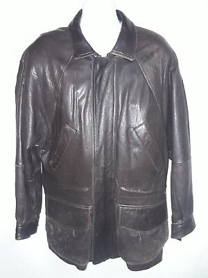 Marc new york leather car coat - 3/4 length jacket - Chocolate Brown - Classic
