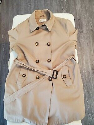 Michael Kors Women's Size M Tan Line Belted Trench Jacket Coat