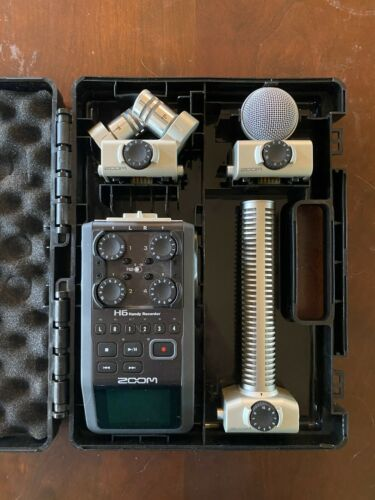 Zoom H6 6-Track Digital Recorder With Shotgun Mic, M/S Mic, Stereo Mic, Case