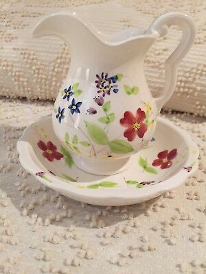 Elizabeth Arden Miniature Washstand Set Hand Painted Ceramic Pitcher And Basin