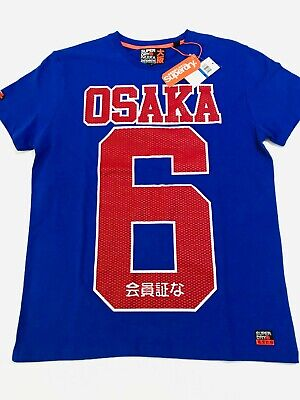 SUPERDRY OSAKA 6 Blue Red Mens XL T-Shirt