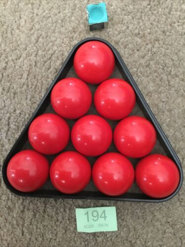 10 X Snooker Balls RED Colored Snooker Balls,48mm Sized Balls (SPARES)and Triangle