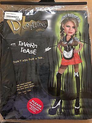 Tavern Wench Halloween Costumes (womens NEW NIP TAVERN TEASE HALLOWEEN COSTUME SEXY 12/14 DRESS APRON CAP SKIRT)
