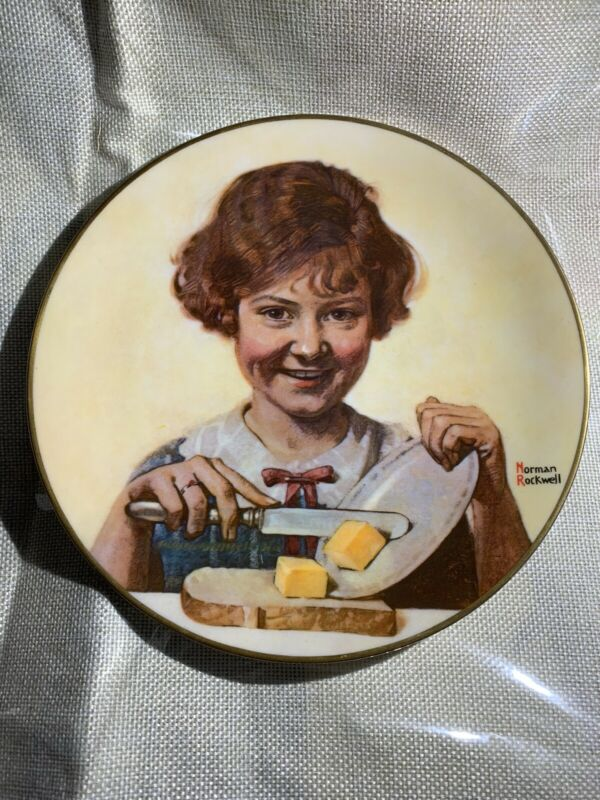 butter girl Norman Rockwell Plate Fine Gorham China