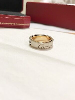 Cartier LOVE Secret 18k White & Rose Gold Band Ring - Size 5 can be pendent