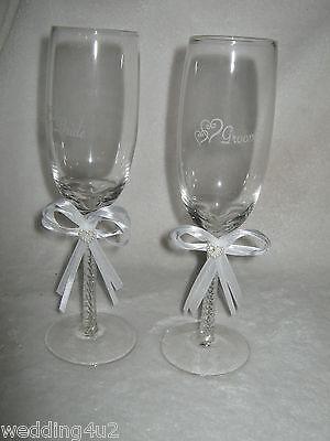 Wedding BRIDAL Supplies Bride and Groom CHAMPAGNE Toasting Glasses WHITE](Bride And Groom Glasses)