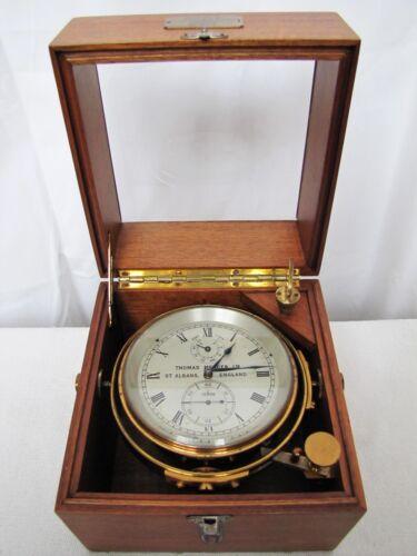 Thomas Mercer Marine Chronometer Ship Clock in Wooden Case.