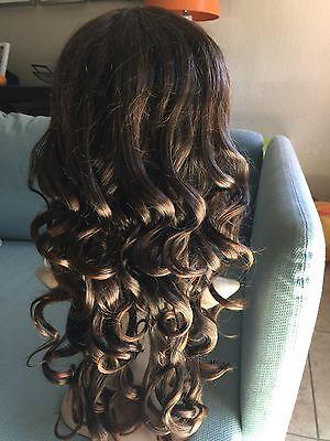 Fashion Curly Wavy Wig Bangs Full Wig Dark brown Hair For Women