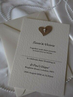 RUSTIC, VINTAGE HEART & PEARL INVITATIONS & ENVELOPES -WEDDING ANNIVERSARY