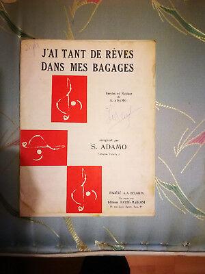 """Partition """" J'ai tant de rêves dans mes bagages """"  Adamo"""