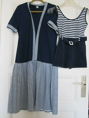 BADEANZUG 1920 Outfit MIDI KLEID blau weiß Strand VINTAGE Berlin Boheme Yacht 20