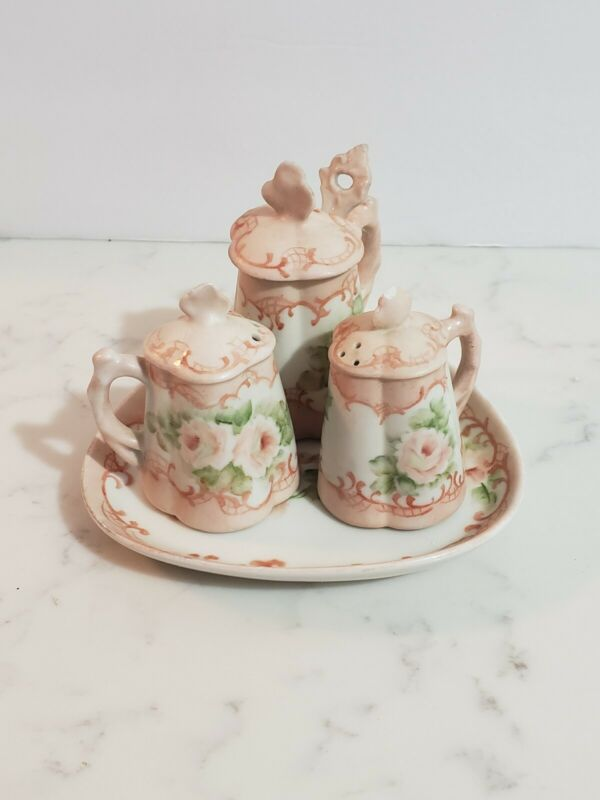 Vintage Porcelain Miniature Salt Pepper Sugar Set Floral With Tray