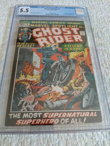 MARVEL SPOTLIGHT #5 CGC 5.5 OFFWHITE TO WHITE PAGES - ORIGIN - FIRST GHOST RIDER