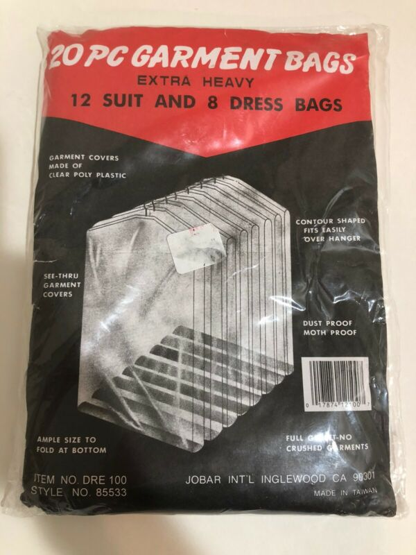 20 Piece Set Of Garment Bags Extra Heavy Clear Poly Plastic Dresses And Suits
