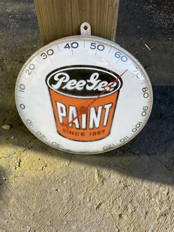 """Extremely Rare 12"""" Glass Face Pee Gee Paint Advertising Thermometer Works!"""