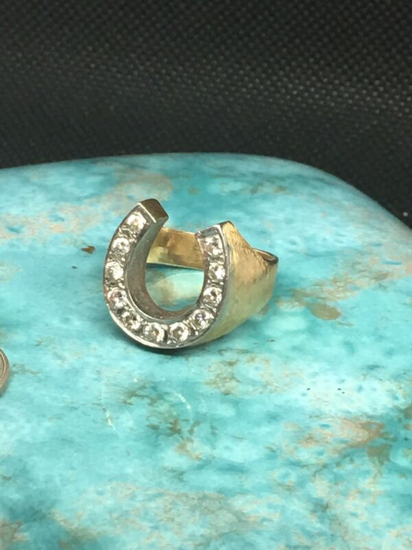 Mens LARGE 14 Kt. Diamond Horseshoe Ring, Size 8, Weight 13.2 Grams!!