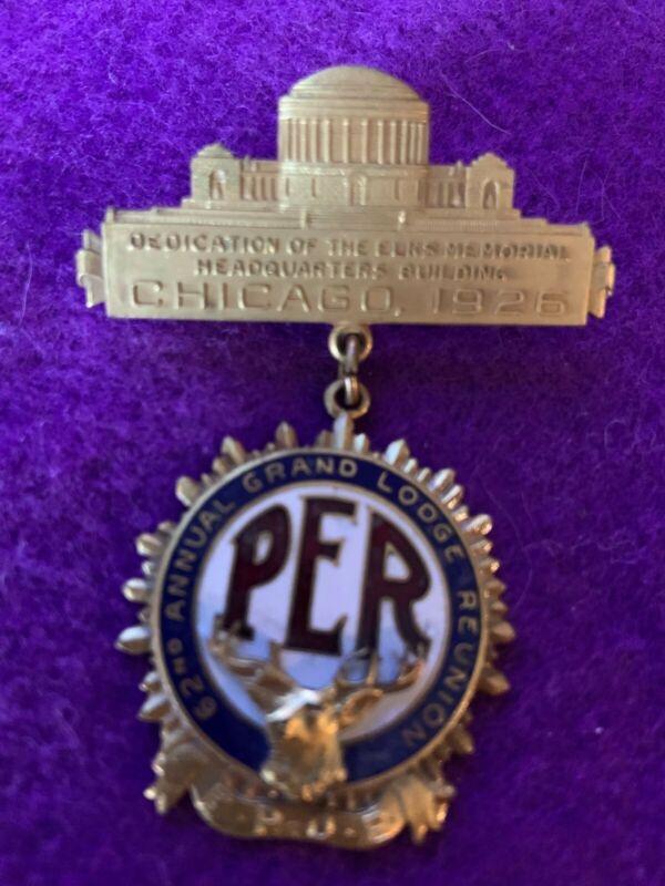 """BPOE elks memorabilia  """"PER""""1926 Memorial Dedication 62nd Grand Lodge-Chicago"""