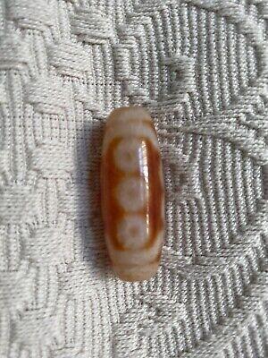 Tibetan Reddish Agate Dzi 10Eyed Bead 4 cm