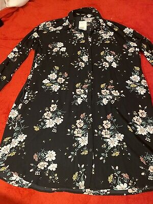 H&m Divided New With Tags Shirt Button Floral Dress Collar, Size 12 Classic