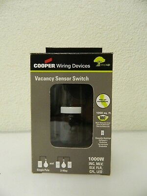 Cooper Wiring Infrared Vacancy Sensor Wall Switch 1000 Sq. Ft. Cover Vs310u-bk