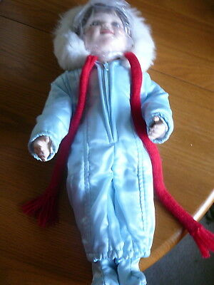 """Doll Porcelain Doll 16"""" Winter Angle by Zolan 1991 Hamilton Collection Vintage"""