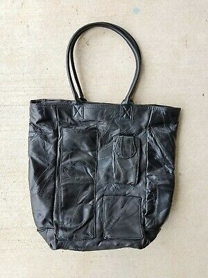 Large Black Patchwork Lambskin Leather Tote Purse 15.5