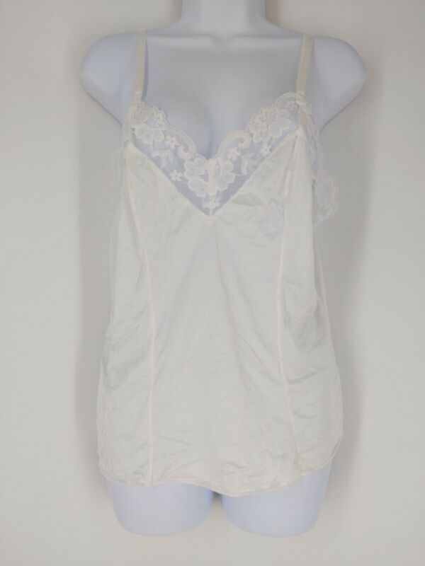 Vintage Lorraine White Nylon Lace Trim Camisole Made in USA Size 40