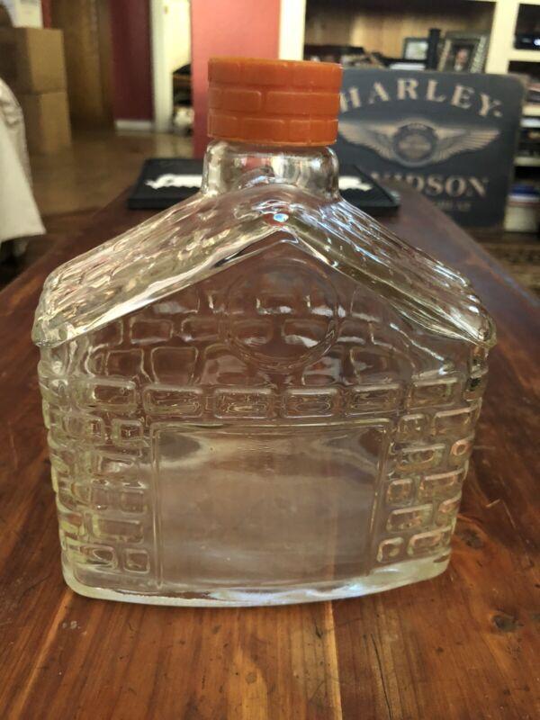 Vintage Glass Brick House Cabin Syrup Bottle