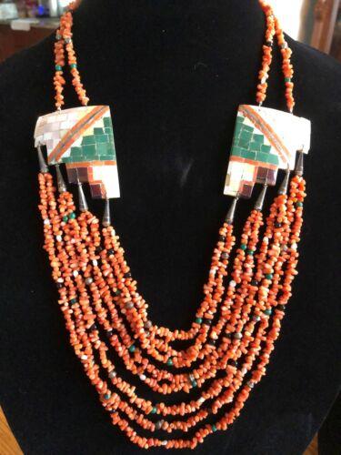 Vintage Santo Domingo Necklace Native American 8 Strand Orange Coral
