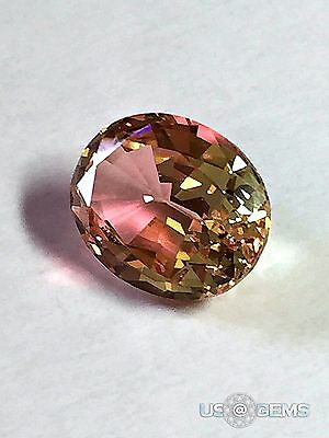 Color change Pink-Yellow #M204.Oval 10x8mm. 2.75 Ct. Monosital. US@GEMS