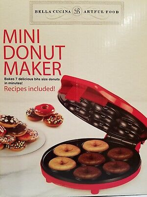 RED MINI DONUT MAKER IN BOX WITH RECIPES.BAKES 7 BITE SIZE DONUTS.BELLA BRAND