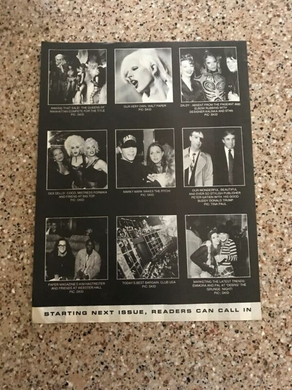 1993 VINTAGE 8X11 MAGAZINE CLIPPING NYC CLUB LIMELIGHT PETER GATIEN+DONALD TRUMP