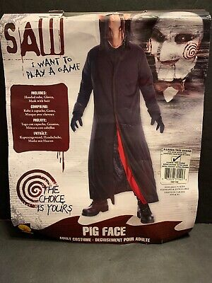 Pig Saw Costume (Saw Jigsaw Pig Face Adult Costume Mask With Hair Hooded Robe Gloves XL)