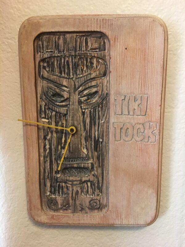 "Vintage Tiki Tock Clock Wall Hanging Hawaii 8x12"" - Works -"