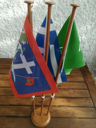 Greece Pao Kokkonis Flag x3 with Wooden Base
