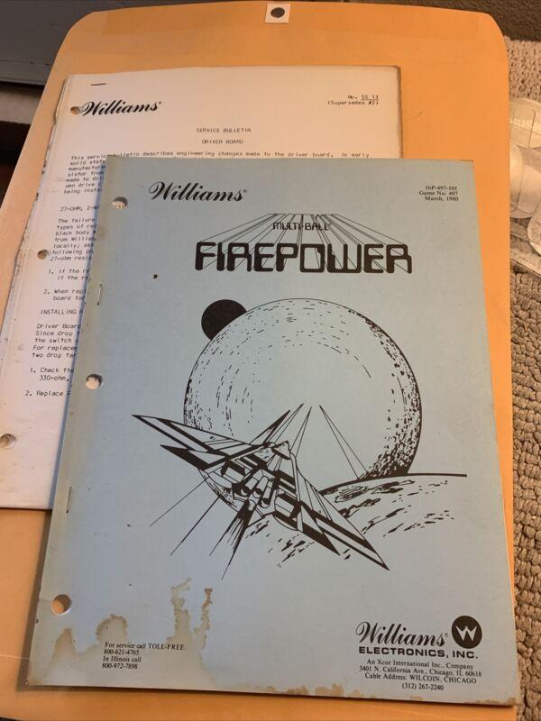 Original Firepower Schematics Pinball W/ Bulletins arcade game manual