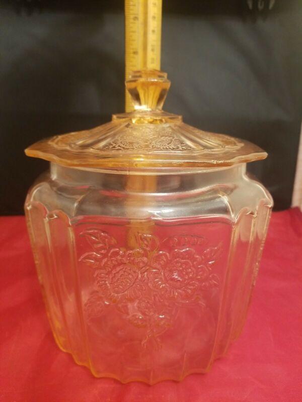 Vintage Anchor Hocking Mayfair Open Rose Pink Depression Glass Cookie Jar Lid