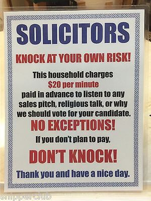 2 X Funny No Solicitors Soliciting Sign Water Proof Laminate Letter Size