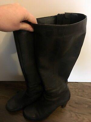 ECCO Stiefel schwarz Leder Gr 38 elegant wie neu breiter Schaft