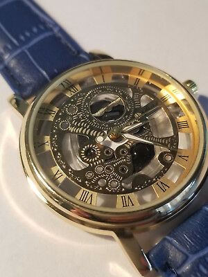 (Gold Transparent Hollow Men's Luxury Skeleton Wrist Watch)