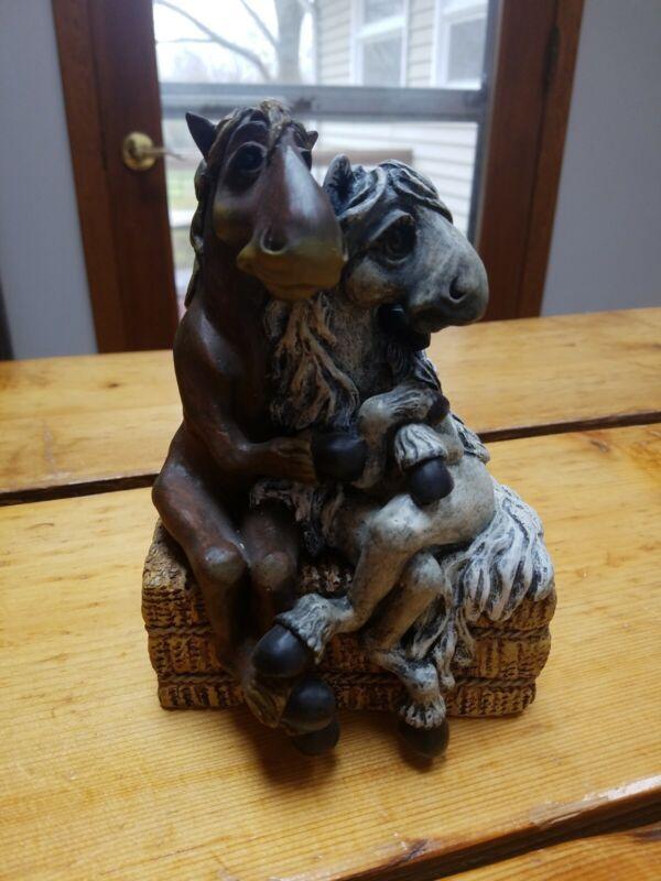 Elmer Ellie Horses Figurine Hugs Holding Hay Bale Lifestyles Montana Silversmith