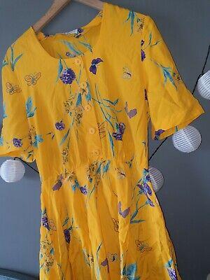 Urban Renewal Vintage Bright Yellow Floral Printed Short Dress