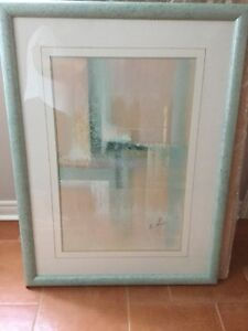 Light green frame glass picture