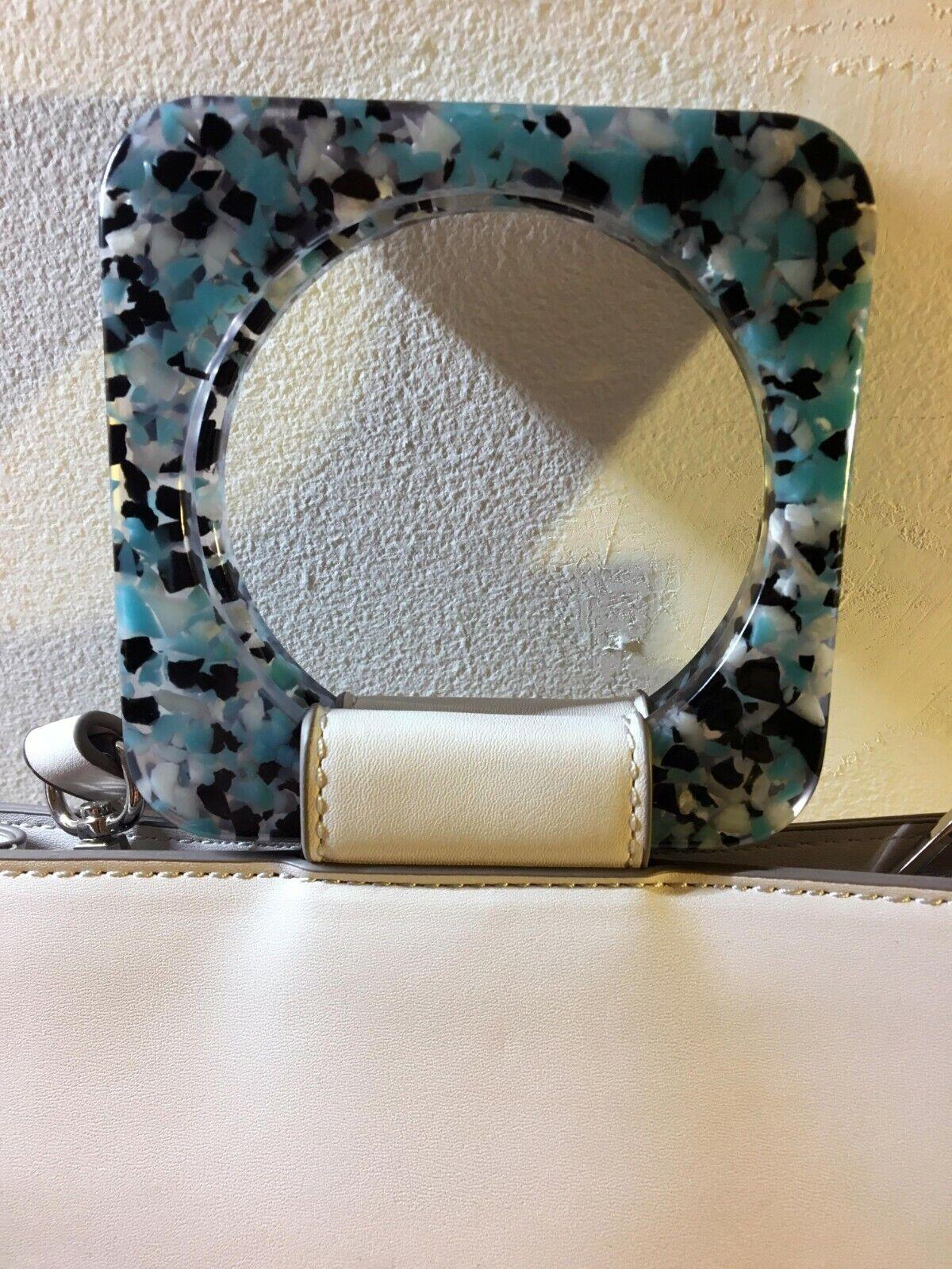Zara satchel - Light grey with Blue acrylic handles