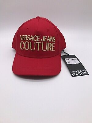 Versace Jeans Couture Embroidery Logo Red Mens Baseball Cap Hat One Size Genuine