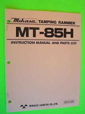 Mikasa Tamping Rammer Mt-85h Instruction Manual And Parts List 308-01305