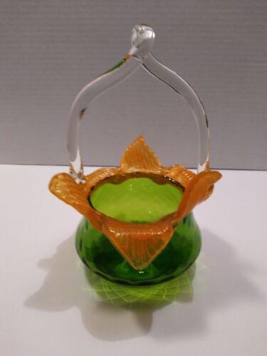 KRALIK Antique Green/Orange Bohemian FLORIFORM Diamond Basket Orange Leafs
