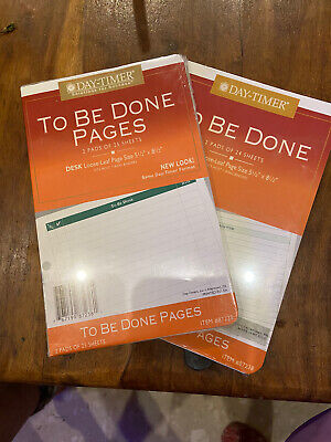 New 2 Day--timer 5x7 To Be Done Notes 2 Pks Of 25 Each - 100 Refill Pages