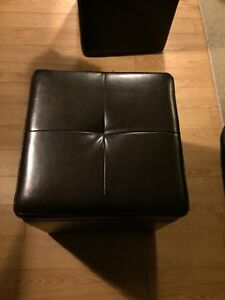 Black ottoman one with storage and one without storage